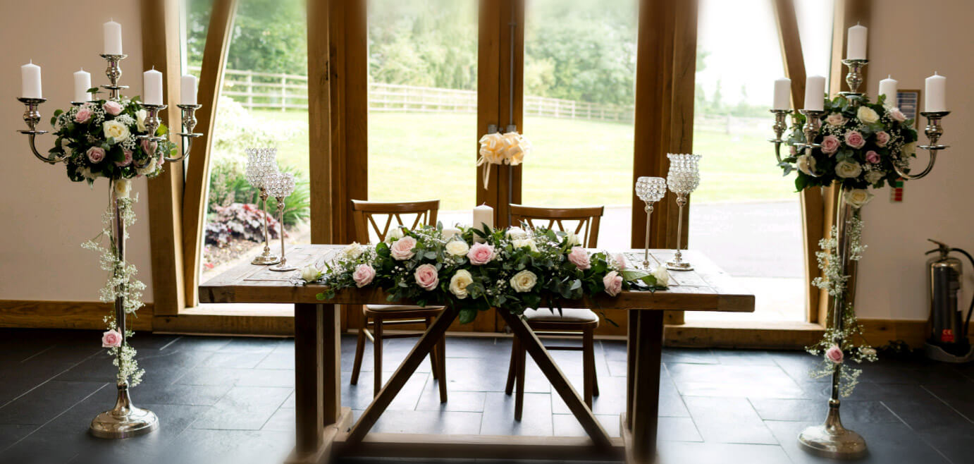 Wedding register table with floral decoration