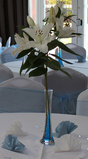 clear plastic vase, with electric blue pebbles and white lilly